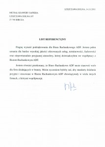 Biuro Rachunkowe ADF - Referencje1